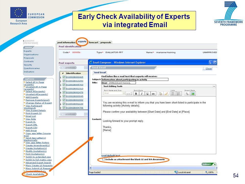 54 Early Check Availability of Experts via integrated Email