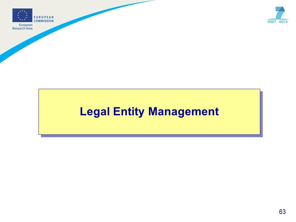 63 Legal Entity Management