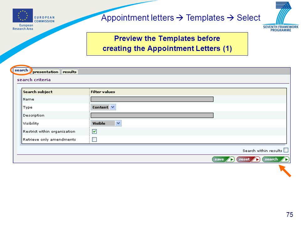 75 Preview the Templates before creating the Appointment Letters (1) Appointment letters Templates Select