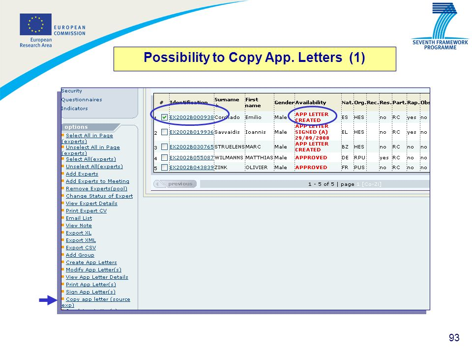 93 Possibility to Copy App. Letters (1)