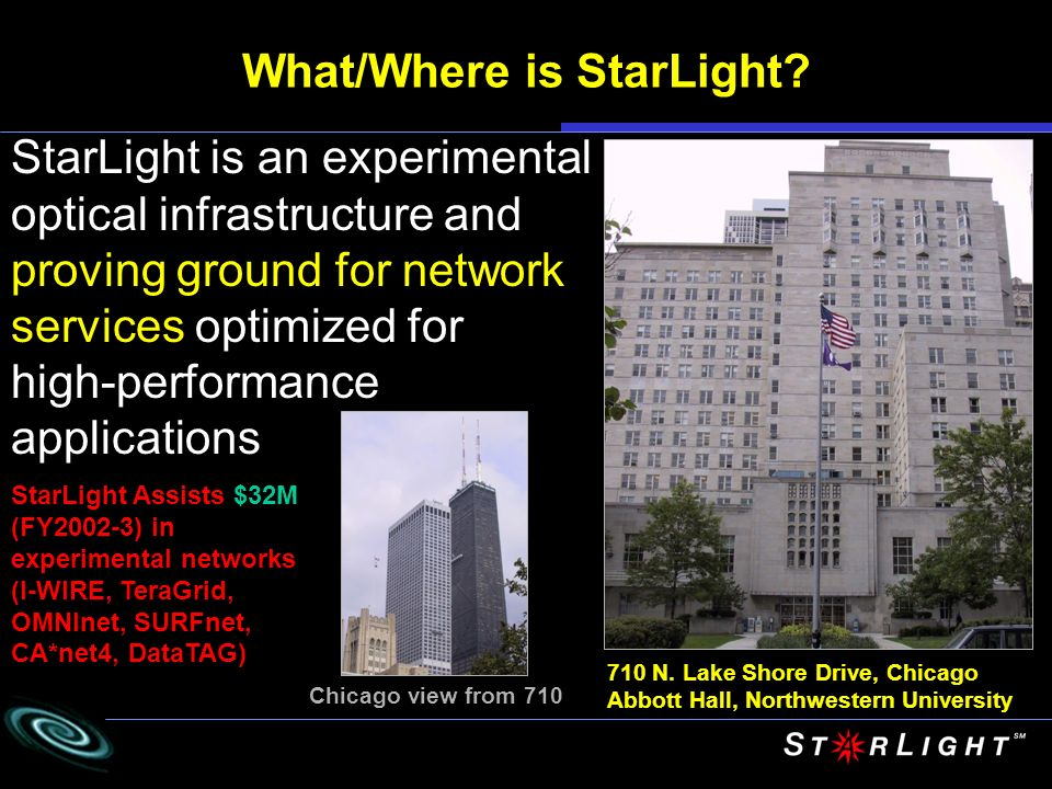 What/Where is StarLight? 710 N. Lake Shore Drive, Chicago Abbott Hall, Northwestern University Chicago view from 710 StarLight is an experimental opti