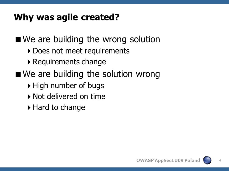 OWASP AppSecEU09 Poland Agile requirements 15
