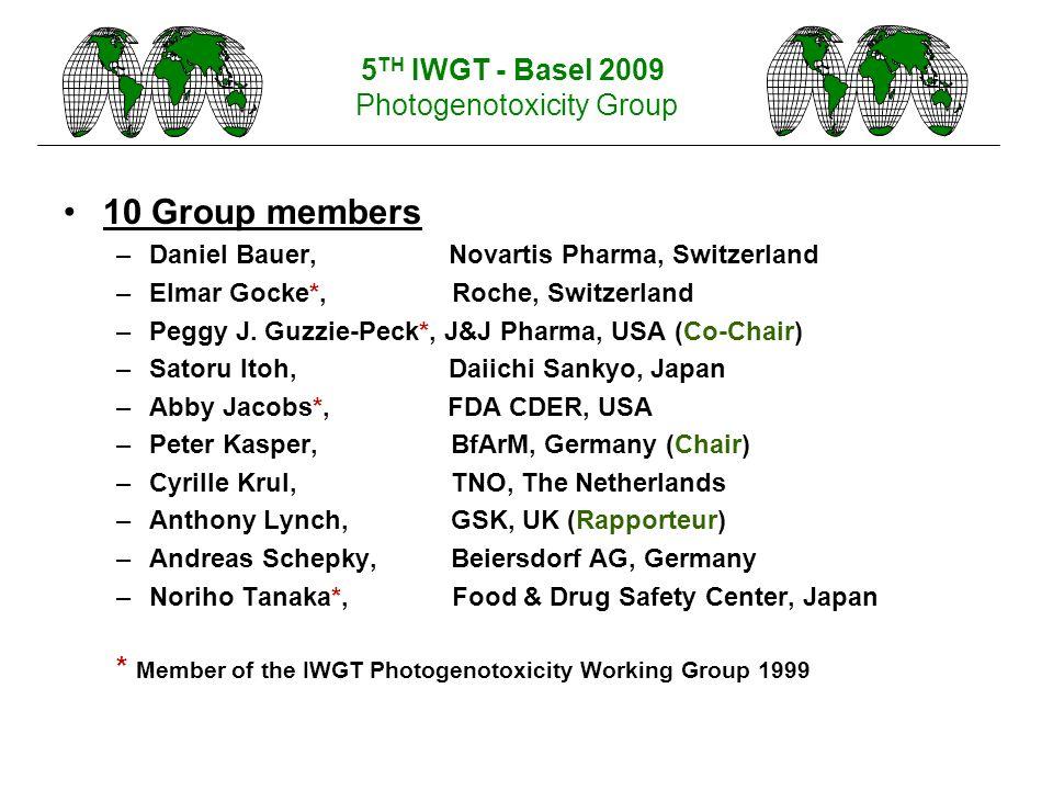 10 Group members –Daniel Bauer, Novartis Pharma, Switzerland –Elmar Gocke*, Roche, Switzerland –Peggy J. Guzzie-Peck*, J&J Pharma, USA (Co-Chair) –Sat