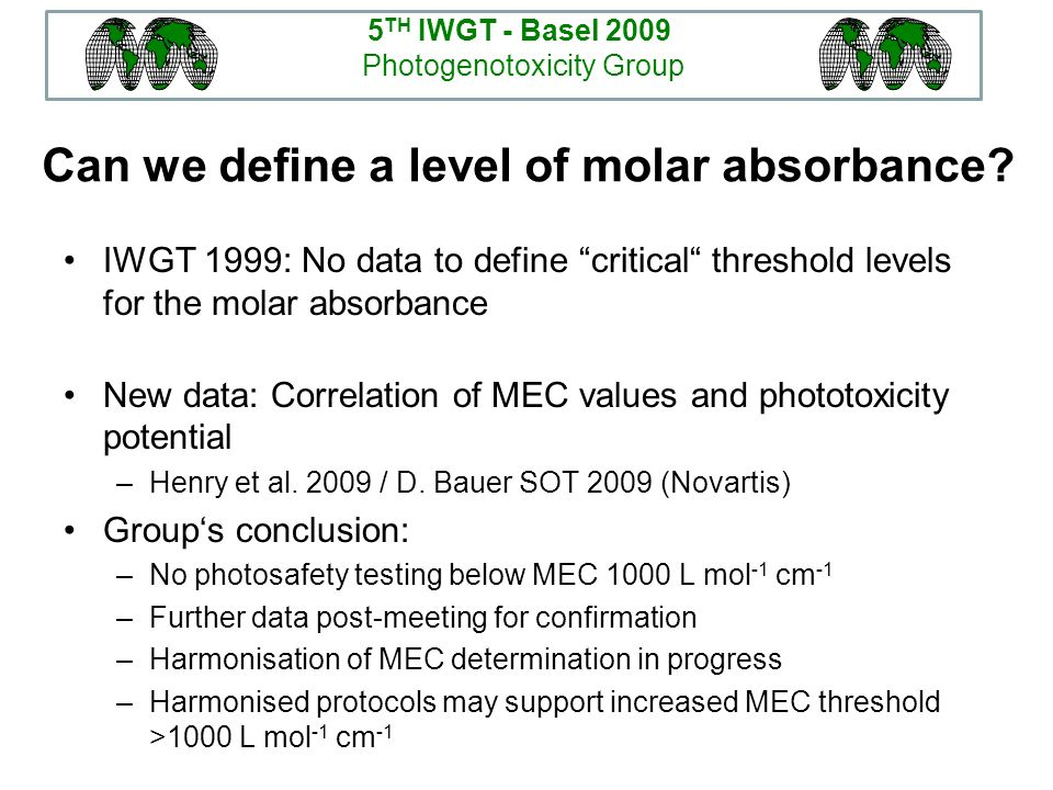Can we define a level of molar absorbance? IWGT 1999: No data to define critical threshold levels for the molar absorbance New data: Correlation of ME