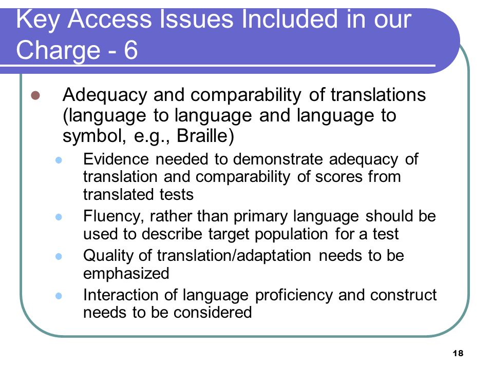 18 Key Access Issues Included in our Charge - 6 Adequacy and comparability of translations (language to language and language to symbol, e.g., Braille