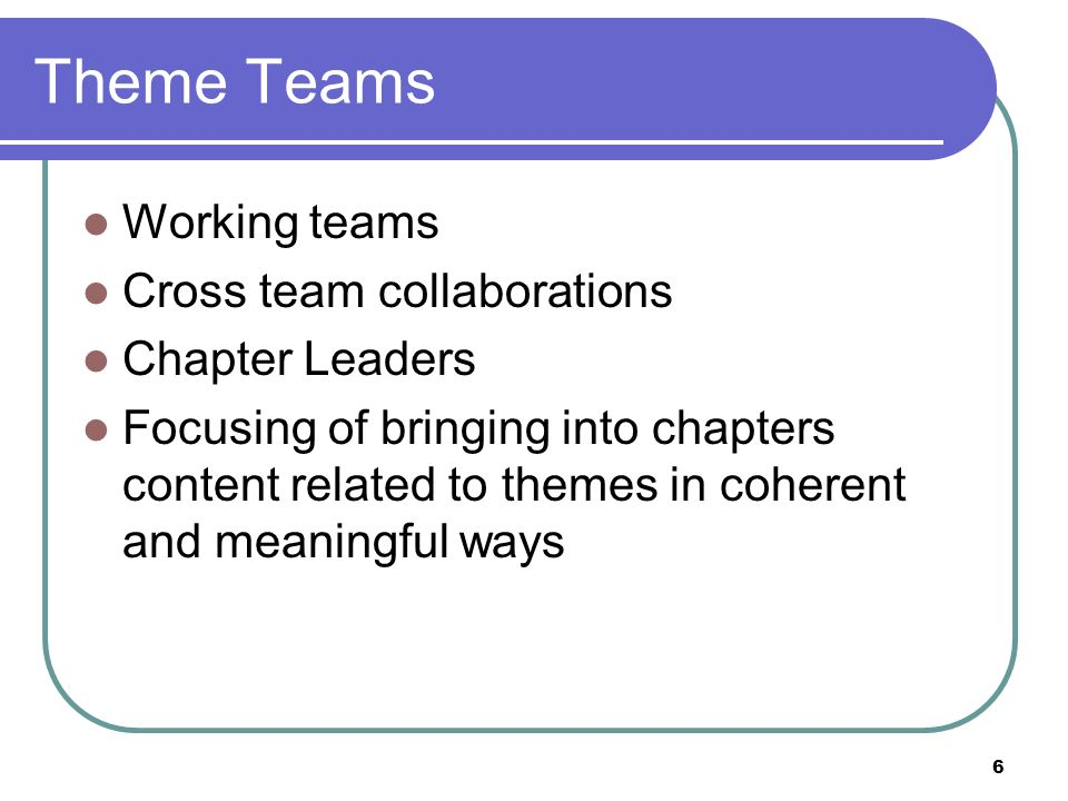 6 Theme Teams Working teams Cross team collaborations Chapter Leaders Focusing of bringing into chapters content related to themes in coherent and mea