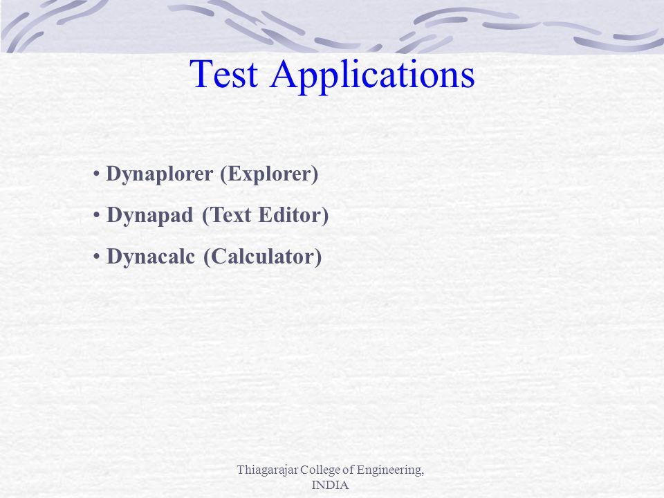 Thiagarajar College of Engineering, INDIA Test Applications Dynaplorer (Explorer ) Dynapad (Text Editor) Dynacalc (Calculator)