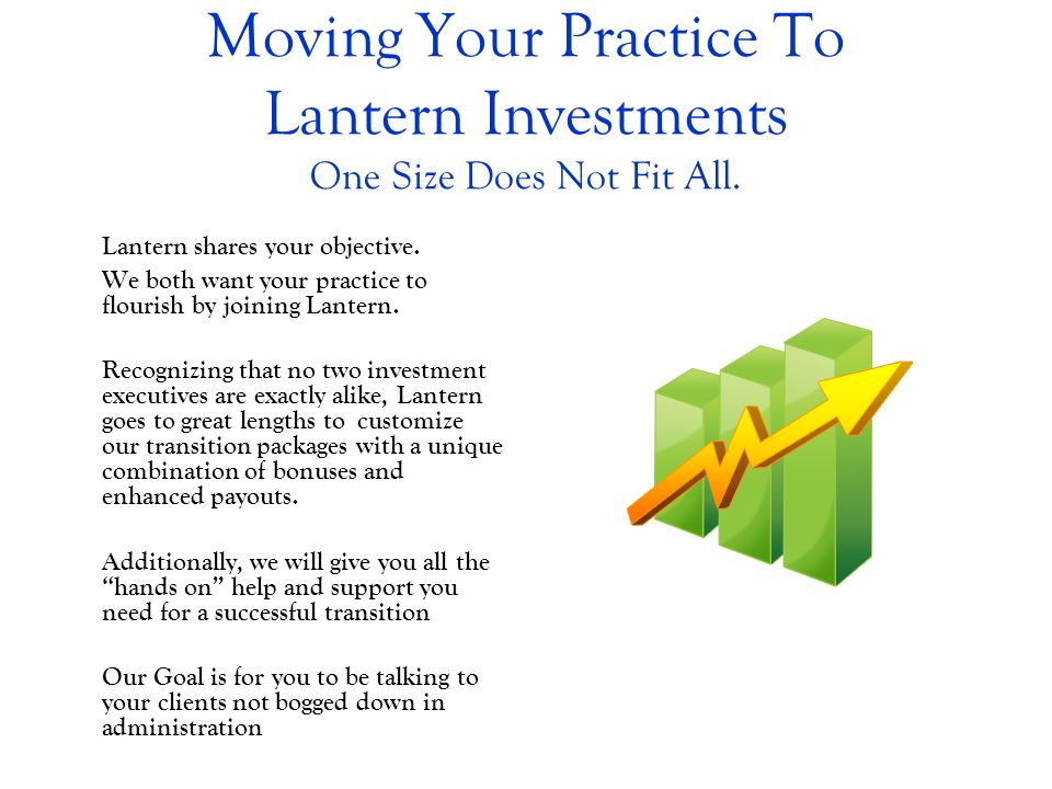 Moving Your Practice To Lantern Investments One Size Does Not Fit All. Lantern shares your objective. We both want your practice to flourish by joinin