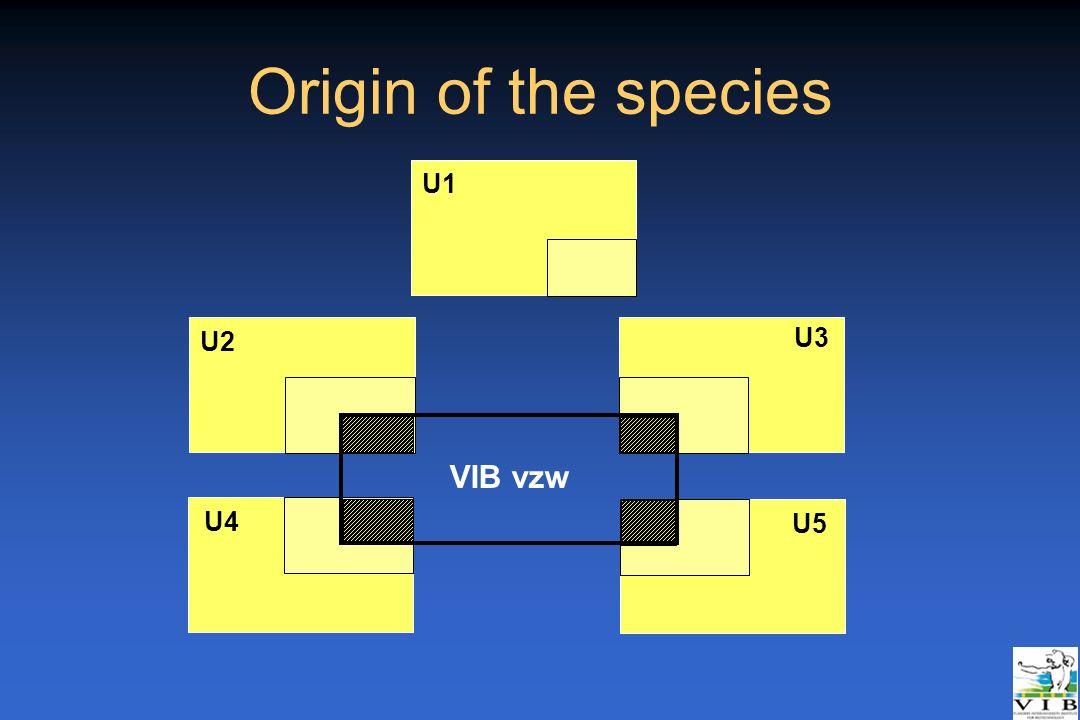 Origin of the species U2 U3 U4 U5 U1 VIB vzw