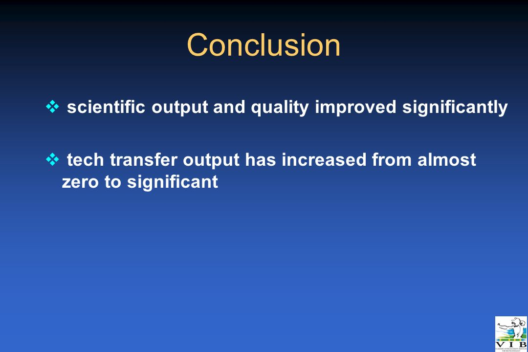 Conclusion v scientific output and quality improved significantly v tech transfer output has increased from almost zero to significant