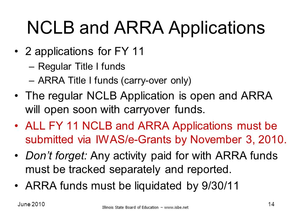 Illinois State Board of Education – www.isbe.net June 201014 NCLB and ARRA Applications 2 applications for FY 11 –Regular Title I funds –ARRA Title I
