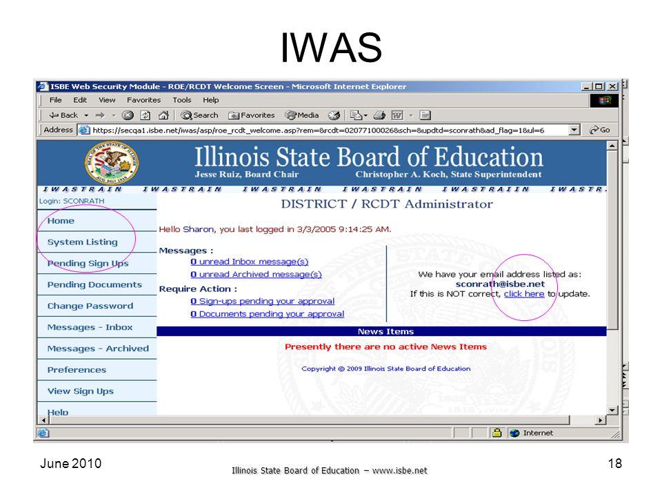 Illinois State Board of Education – www.isbe.net June 201018 IWAS