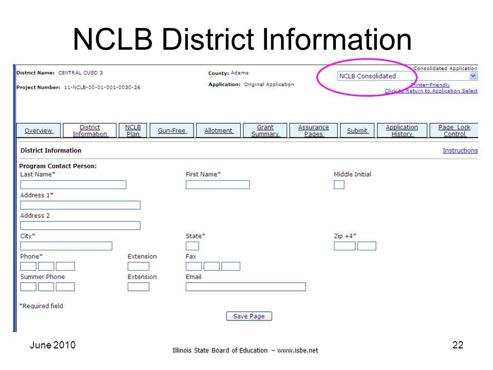 Illinois State Board of Education – www.isbe.net June 201022 NCLB District Information