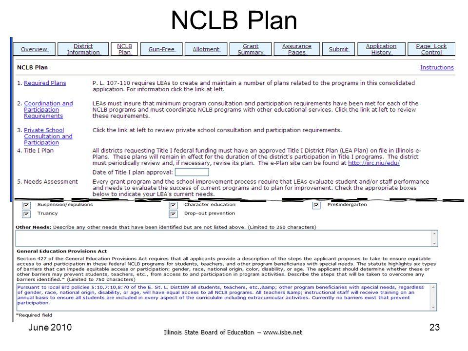 Illinois State Board of Education – www.isbe.net June 201023 NCLB Plan