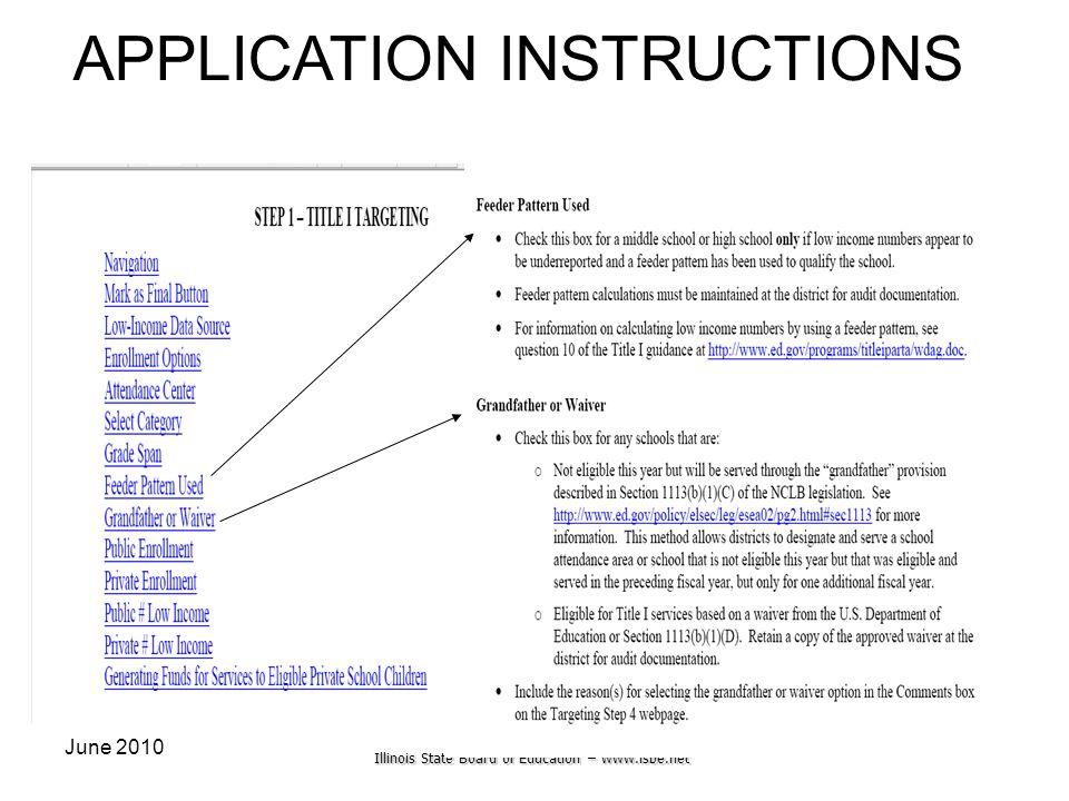 Illinois State Board of Education – www.isbe.net June 201030 APPLICATION INSTRUCTIONS