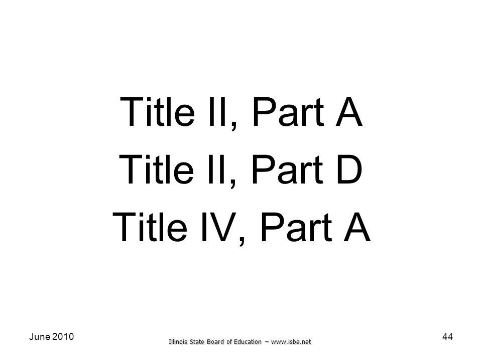 Illinois State Board of Education – www.isbe.net June 2010 Title II, Part A Title II, Part D Title IV, Part A 44