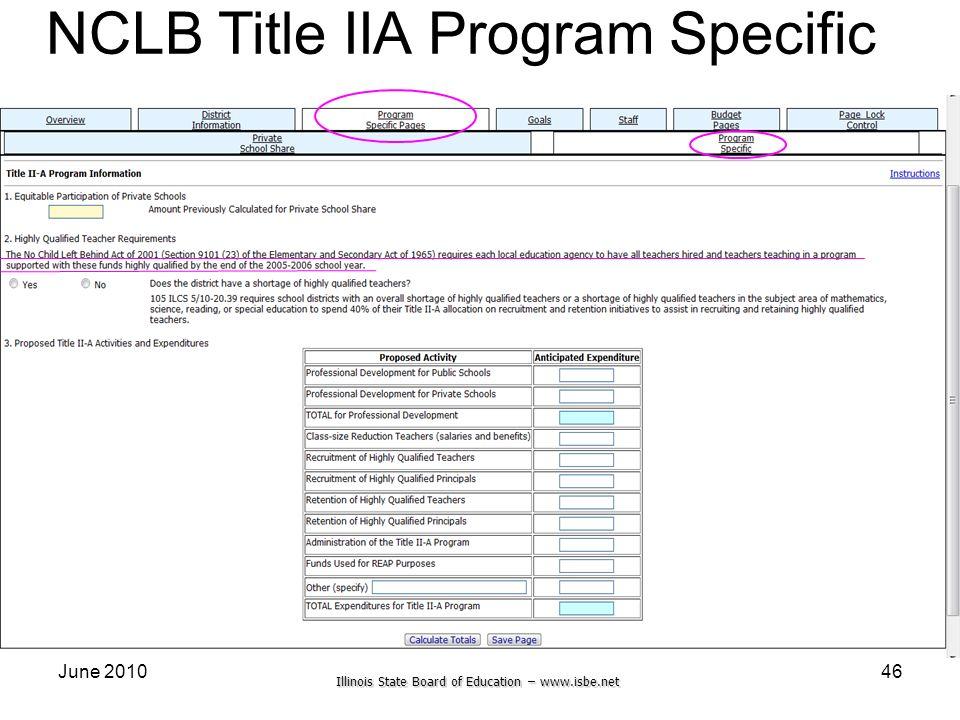 Illinois State Board of Education – www.isbe.net June 201046 NCLB Title IIA Program Specific