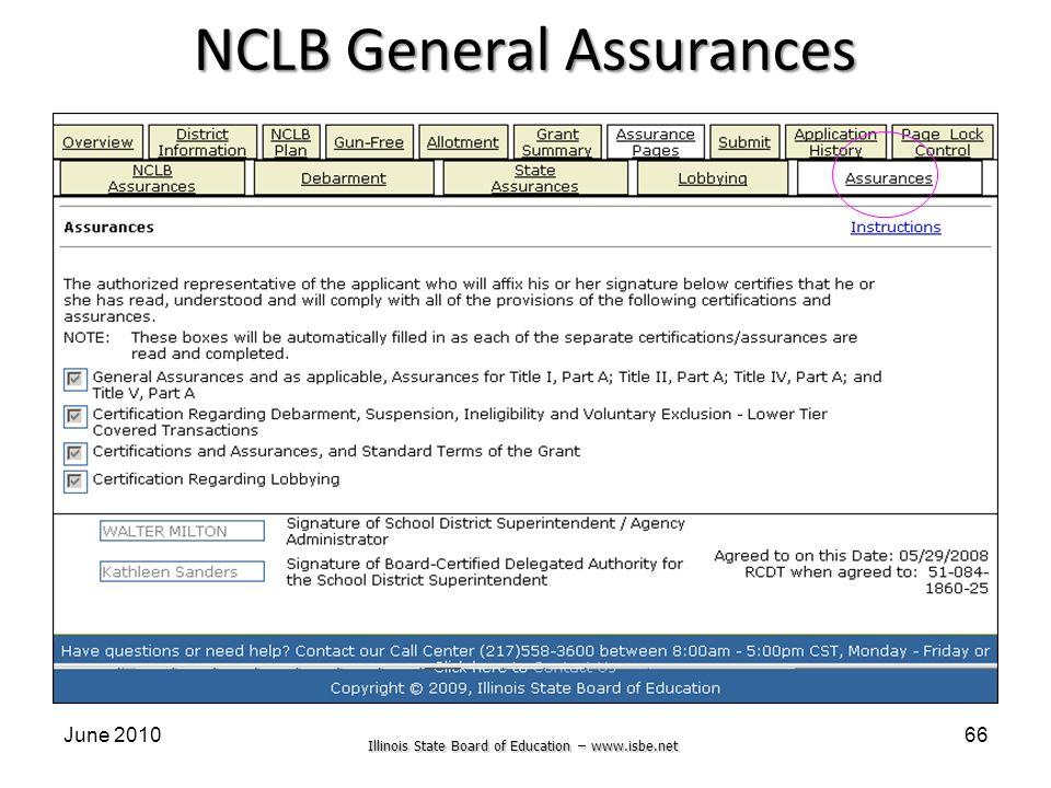 Illinois State Board of Education – www.isbe.net June 201066 NCLB General Assurances
