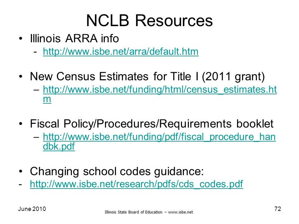 Illinois State Board of Education – www.isbe.net June 201072 NCLB Resources Illinois ARRA info -http://www.isbe.net/arra/default.htmhttp://www.isbe.ne