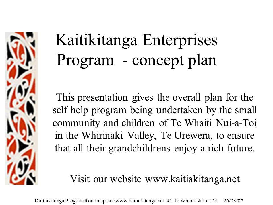 Kaitiakitanga Program Roadmap see www.kaitiakitanga.net © Te Whaiti Nui-a-Toi 26/03/07 Kaitikitanga Enterprises Program - concept plan This presentati