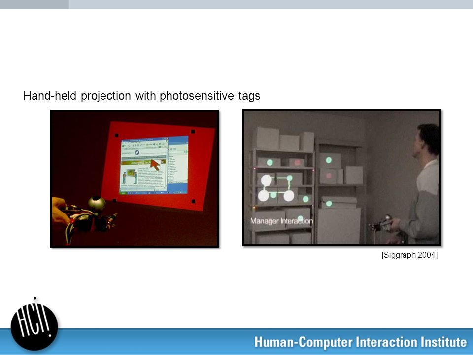 [Siggraph 2004] Hand-held projection with photosensitive tags
