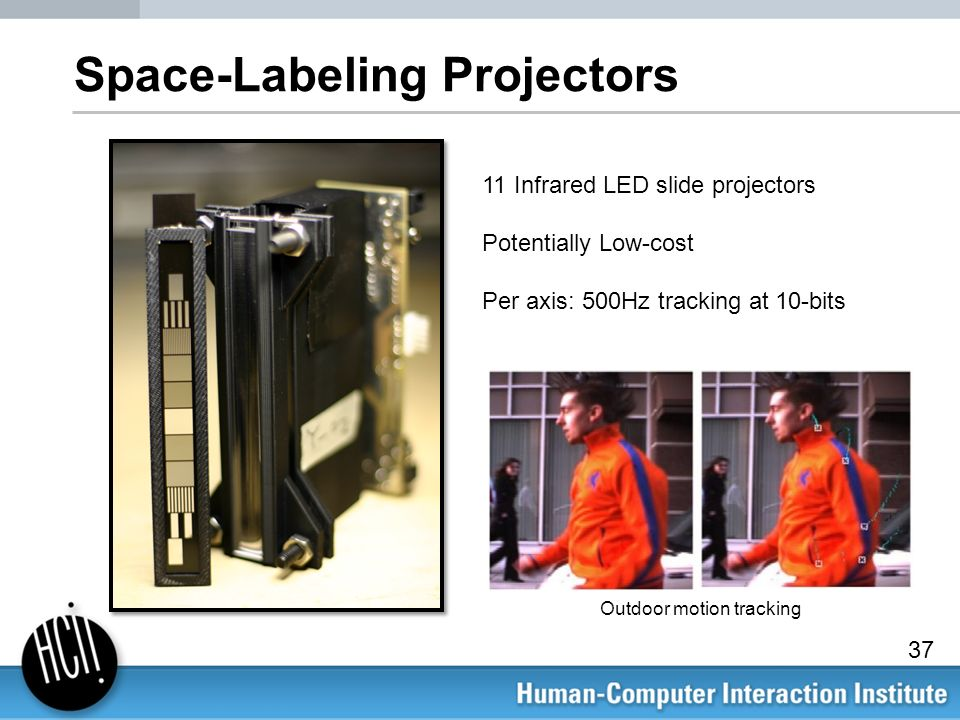 Space-Labeling Projectors 11 Infrared LED slide projectors Potentially Low-cost Per axis: 500Hz tracking at 10-bits Outdoor motion tracking 37