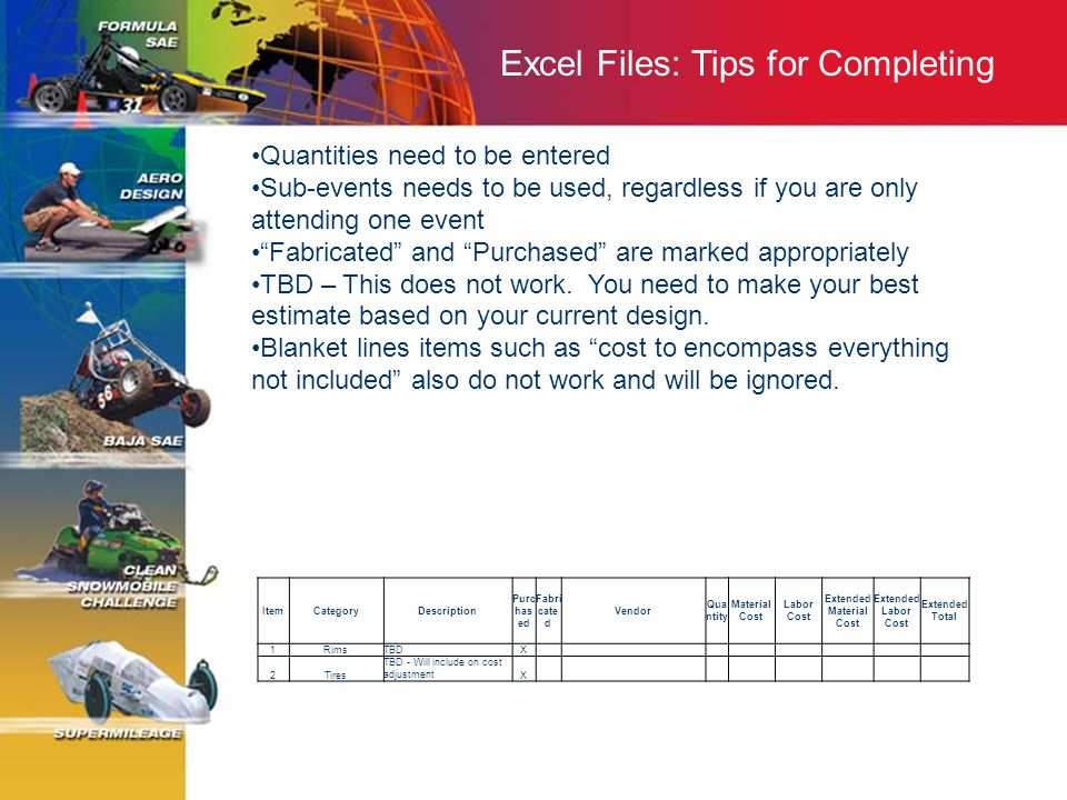 Excel Files: Tips for Completing Quantities need to be entered Sub-events needs to be used, regardless if you are only attending one event Fabricated