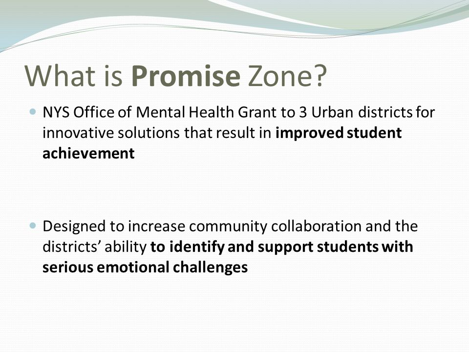 What is Promise Zone? NYS Office of Mental Health Grant to 3 Urban districts for innovative solutions that result in improved student achievement Desi