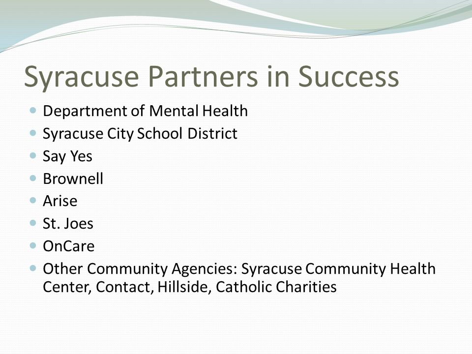 Syracuse Partners in Success Department of Mental Health Syracuse City School District Say Yes Brownell Arise St. Joes OnCare Other Community Agencies