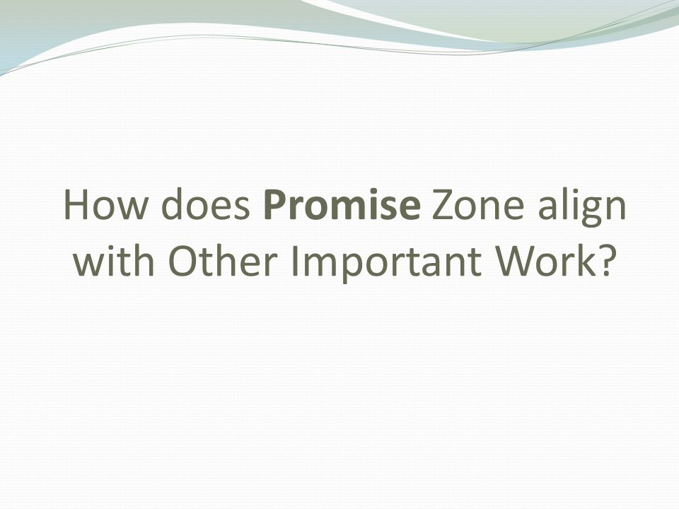 How does Promise Zone align with Other Important Work?