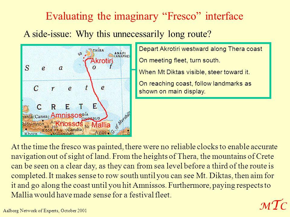 MTCMTC Aalborg Network of Experts, October 2001 Evaluating the imaginary Fresco interface Depart Akrotiri westward along Thera coast On meeting fleet,