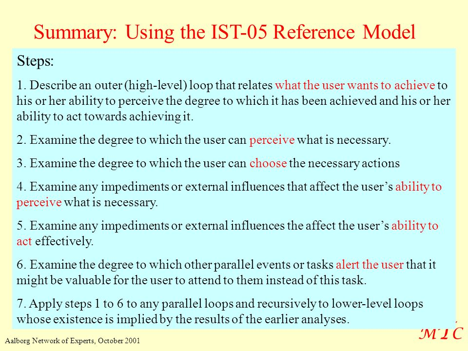 MTCMTC Aalborg Network of Experts, October 2001 Summary: Using the IST-05 Reference Model Steps: 1. Describe an outer (high-level) loop that relates w
