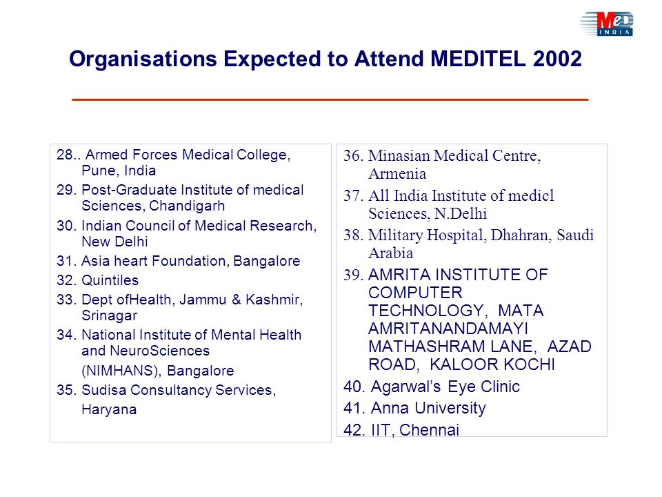 Organisations Expected to Attend MEDITEL 2002 28.. Armed Forces Medical College, Pune, India 29. Post-Graduate Institute of medical Sciences, Chandiga