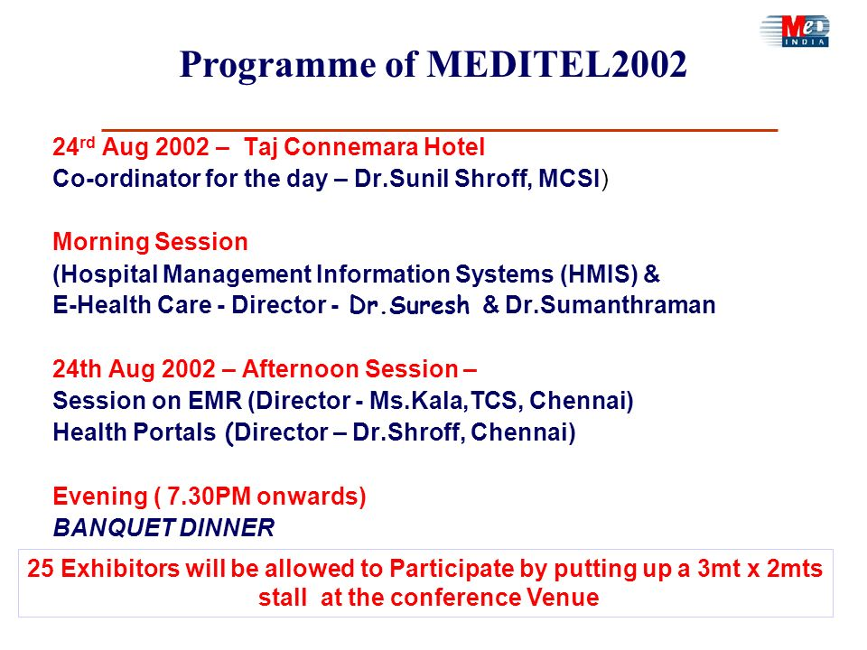 Programme of MEDITEL2002 24 rd Aug 2002 – Taj Connemara Hotel Co-ordinator for the day – Dr.Sunil Shroff, MCSI) Morning Session (Hospital Management I