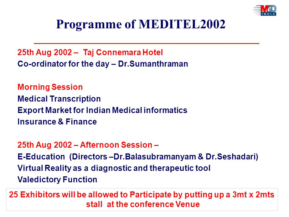 25th Aug 2002 – Taj Connemara Hotel Co-ordinator for the day – Dr.Sumanthraman Morning Session Medical Transcription Export Market for Indian Medical