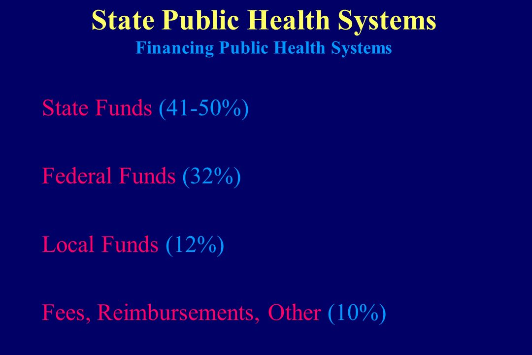State Public Health Systems Financing Public Health Systems State Funds (41-50%) Federal Funds (32%) Local Funds (12%) Fees, Reimbursements, Other (10