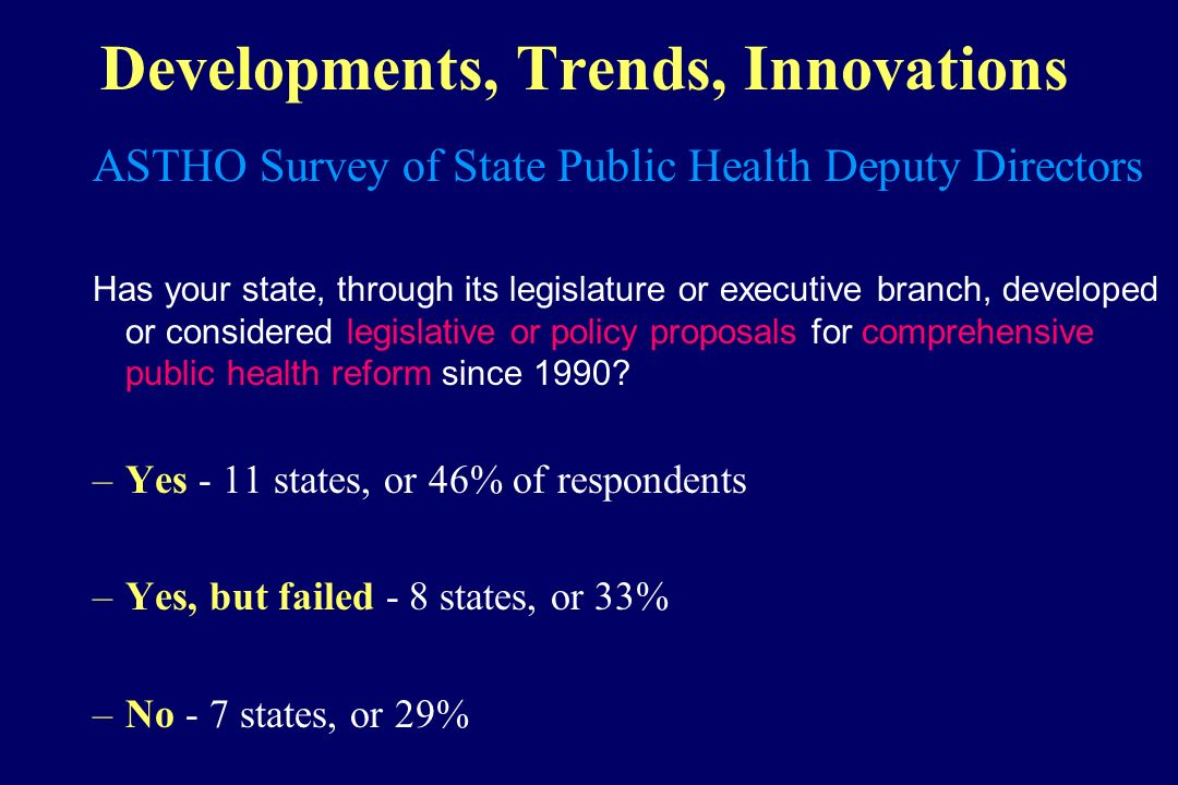 Developments, Trends, Innovations ASTHO Survey of State Public Health Deputy Directors Has your state, through its legislature or executive branch, de