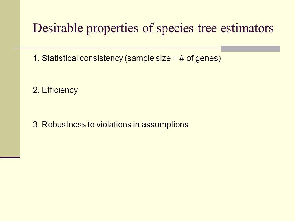 Desirable properties of species tree estimators 1. Statistical consistency (sample size = # of genes) 2. Efficiency 3. Robustness to violations in ass