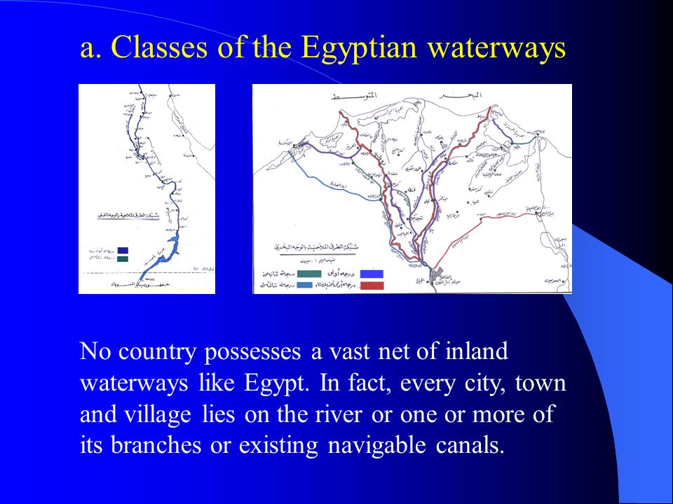 a. Classes of the Egyptian waterways No country possesses a vast net of inland waterways like Egypt. In fact, every city, town and village lies on the