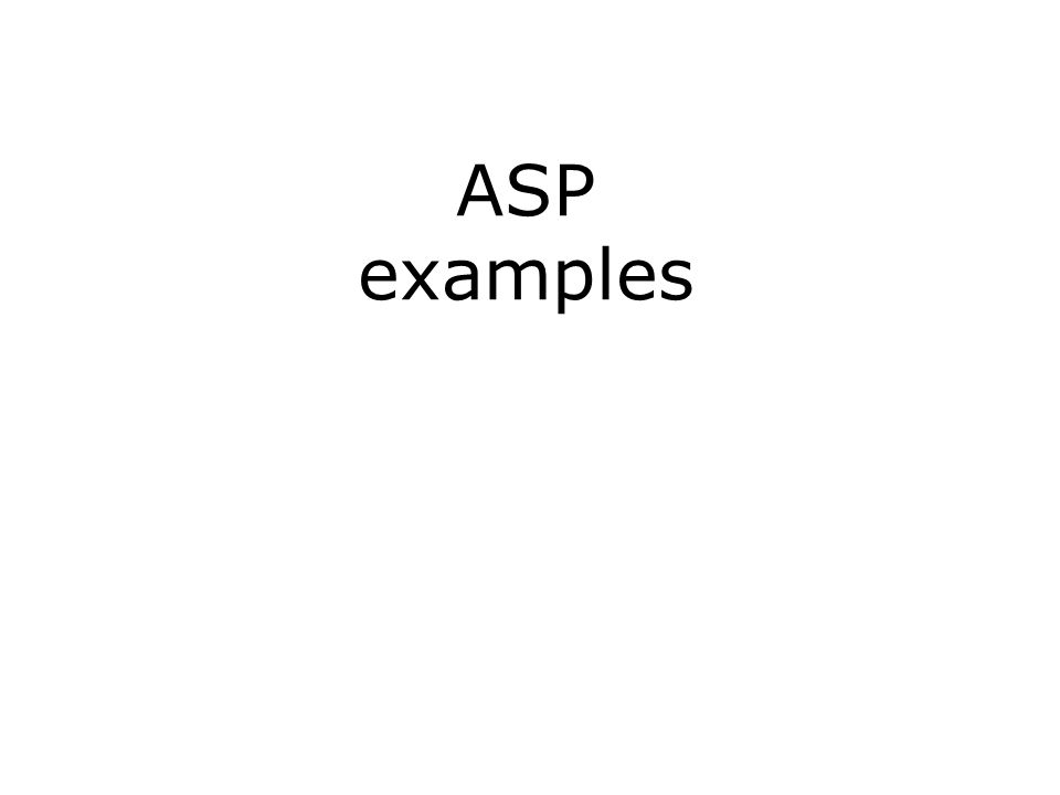ASP examples