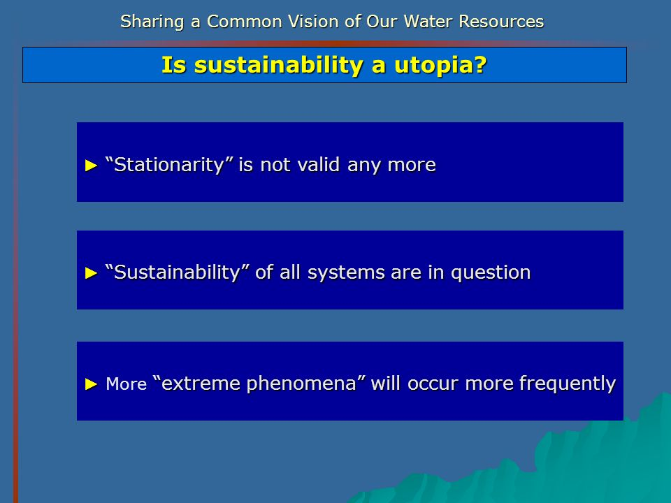 Sharing a Common Vision of Our Water Resources Stationarity is not valid any more Stationarity is not valid any more Is sustainability a utopia? Susta