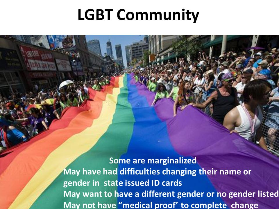 LGBT Community Some are marginalized May have had difficulties changing their name or gender in state issued ID cards May want to have a different gen