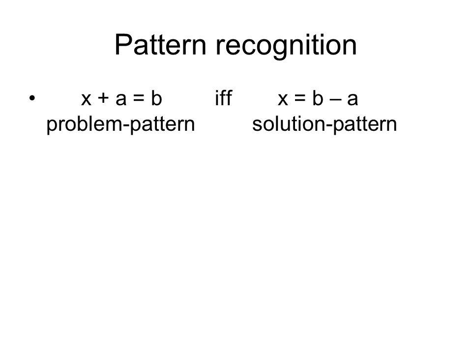 Pattern recognition x + a = b iff x = b – a problem-pattern solution-pattern