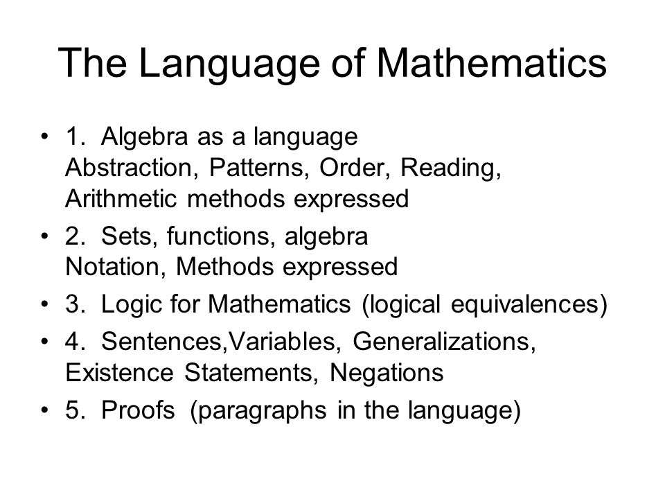 The Language of Mathematics 1. Algebra as a language Abstraction, Patterns, Order, Reading, Arithmetic methods expressed 2. Sets, functions, algebra N