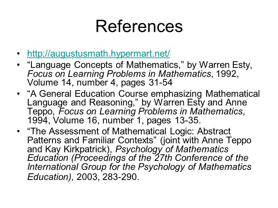 References http://augustusmath.hypermart.net/ Language Concepts of Mathematics, by Warren Esty, Focus on Learning Problems in Mathematics, 1992, Volum