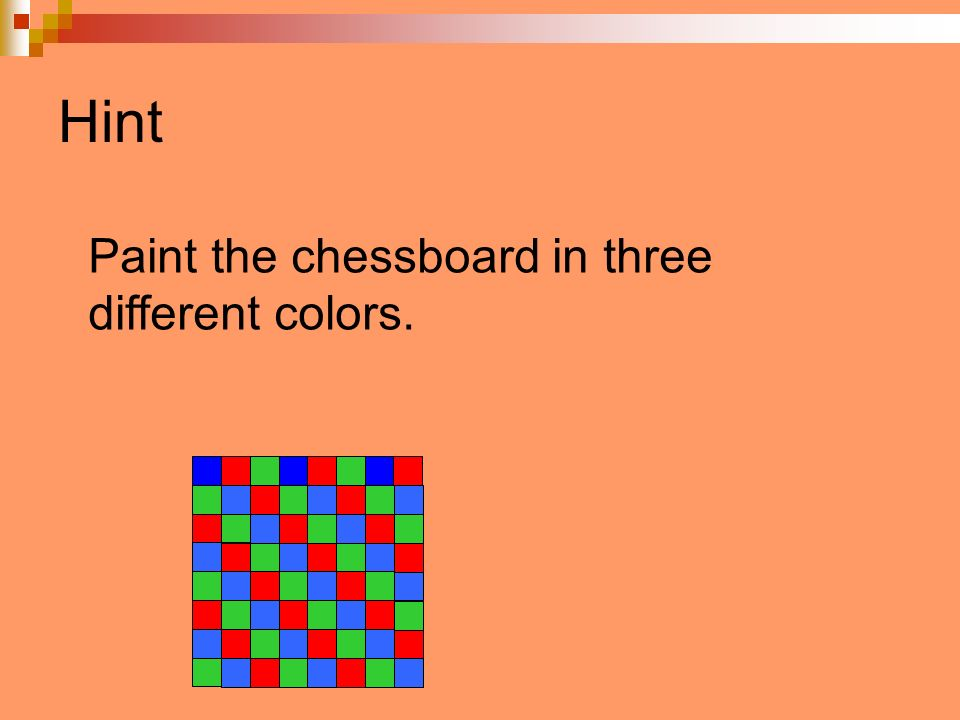 Hint Paint the chessboard in three different colors.