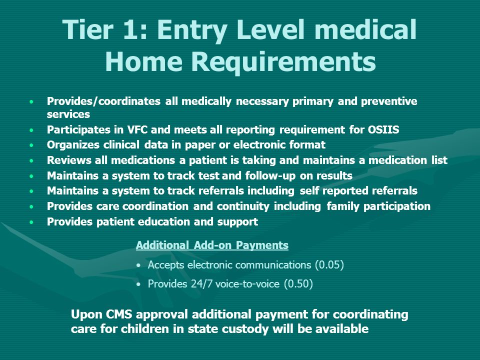 Tier 1: Entry Level medical Home Requirements Provides/coordinates all medically necessary primary and preventive services Participates in VFC and mee
