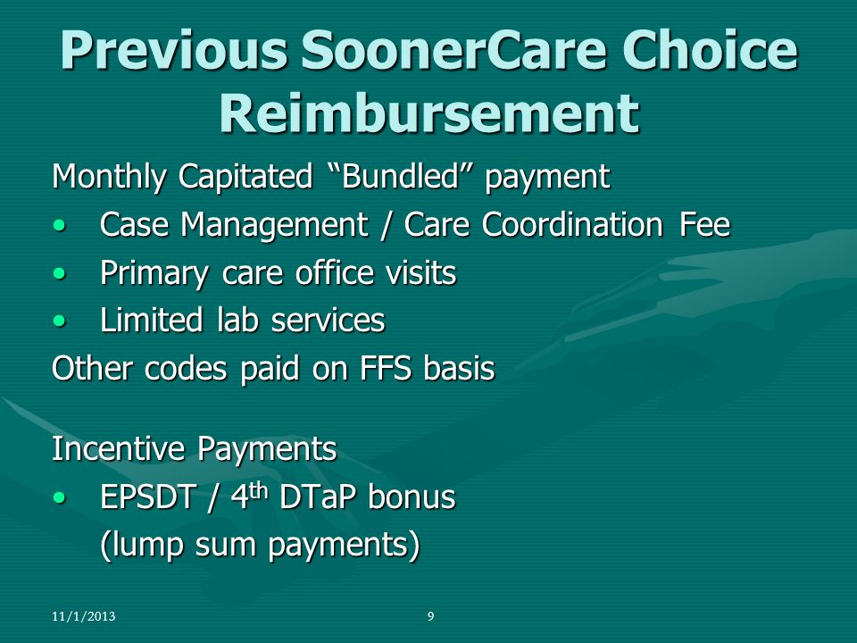 Previous SoonerCare Choice Reimbursement Monthly Capitated Bundled payment Case Management / Care Coordination FeeCase Management / Care Coordination