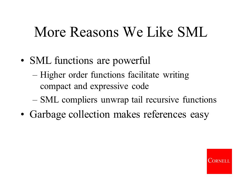 Function Translations SMLs first class functions can be built at run-time, named or left anonymous, and passed to and returned from functions Javas first class objects can be built at run-time, named or left anonymous, and passed to and returned from functions (SML Java)(functionsobjects) Therefore,