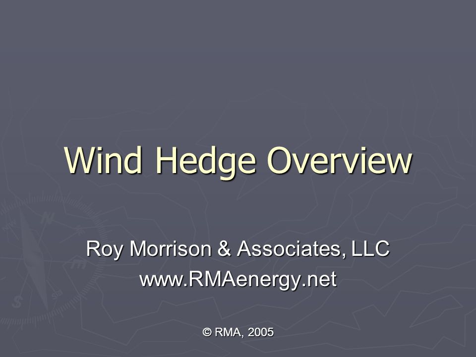 Wind Hedge Overview Roy Morrison & Associates, LLC www.RMAenergy.net © RMA, 2005